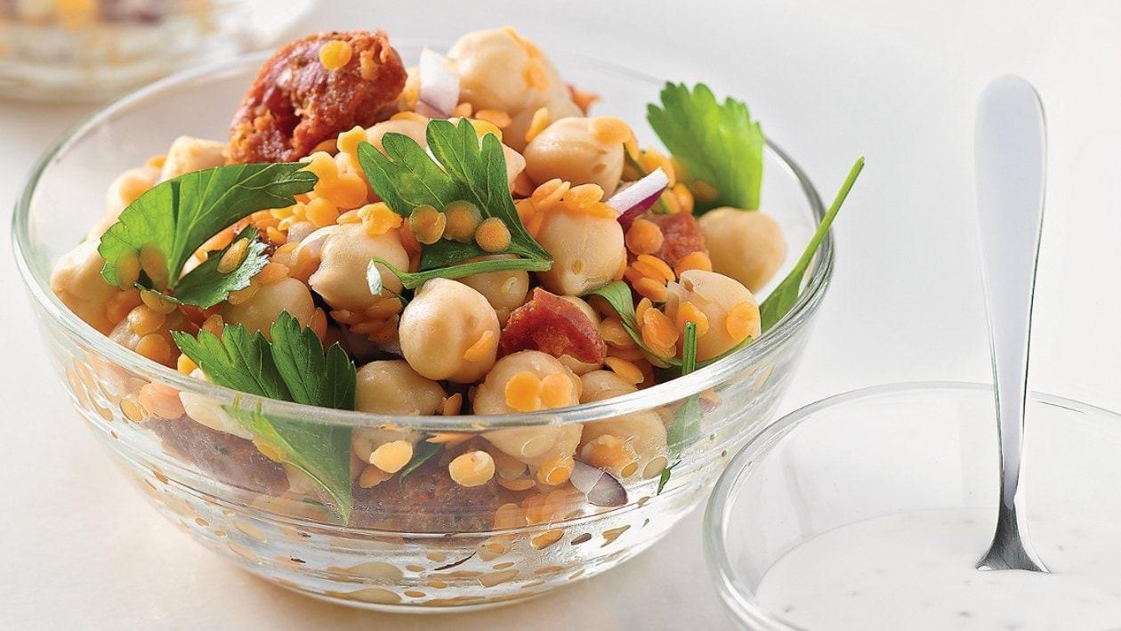 Hülsenfrüchtesalat mit Chorizo