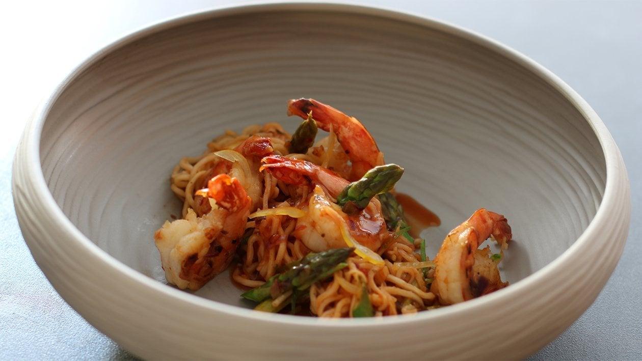 Garnelen - Spargelpfanne mit Noodles