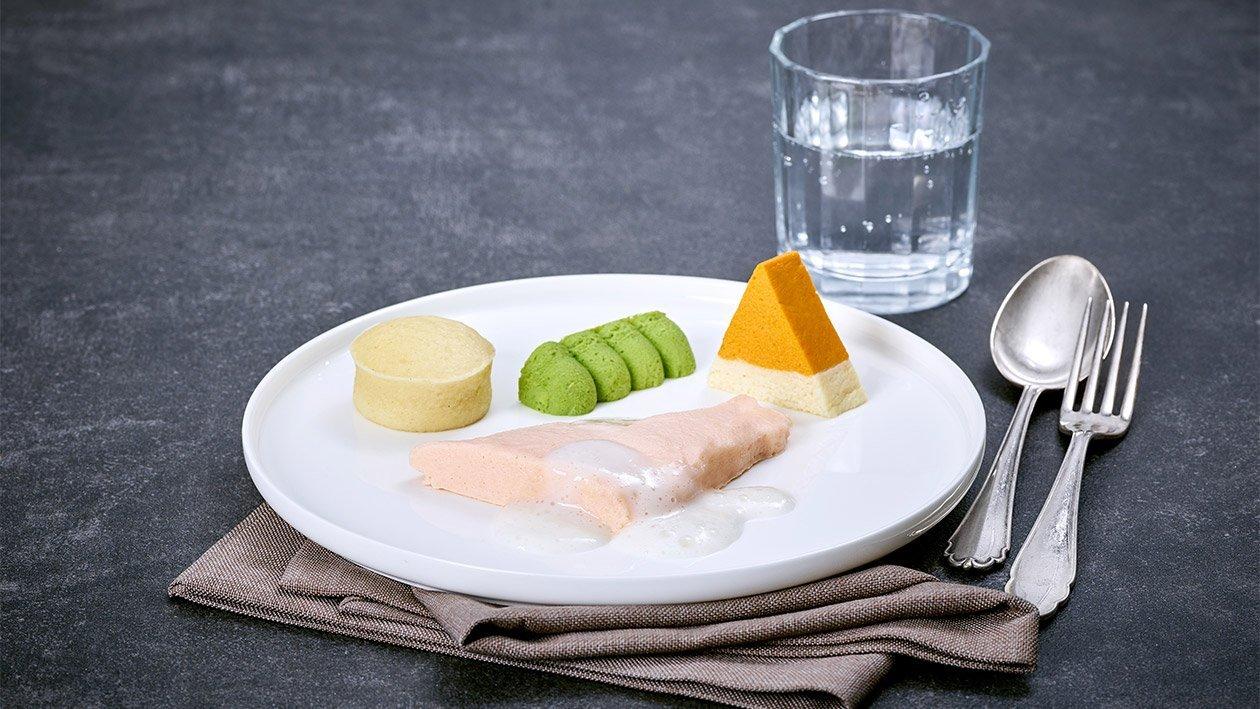 Püriertes Lachsfilet mit Zitronensauce