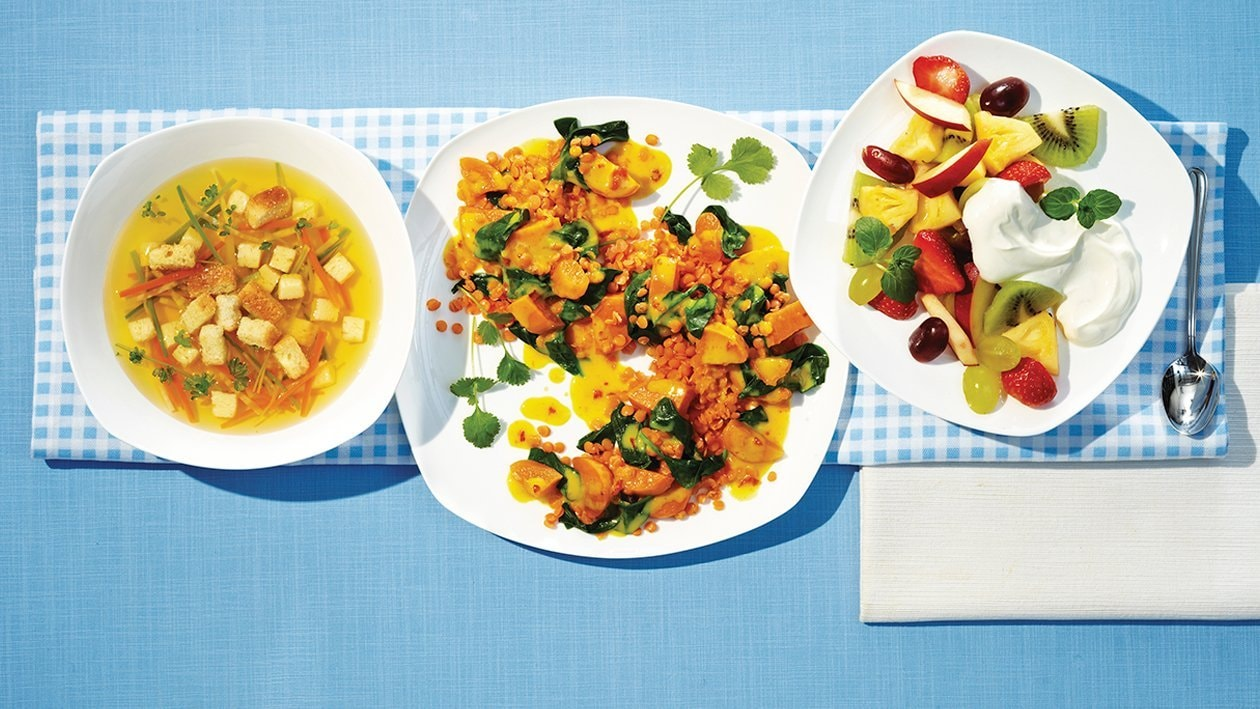 Linsencurry mit Spinat und Aprikosen
