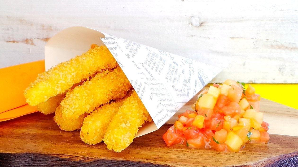 Panko Fisch Sticks mit Melonen Chutney