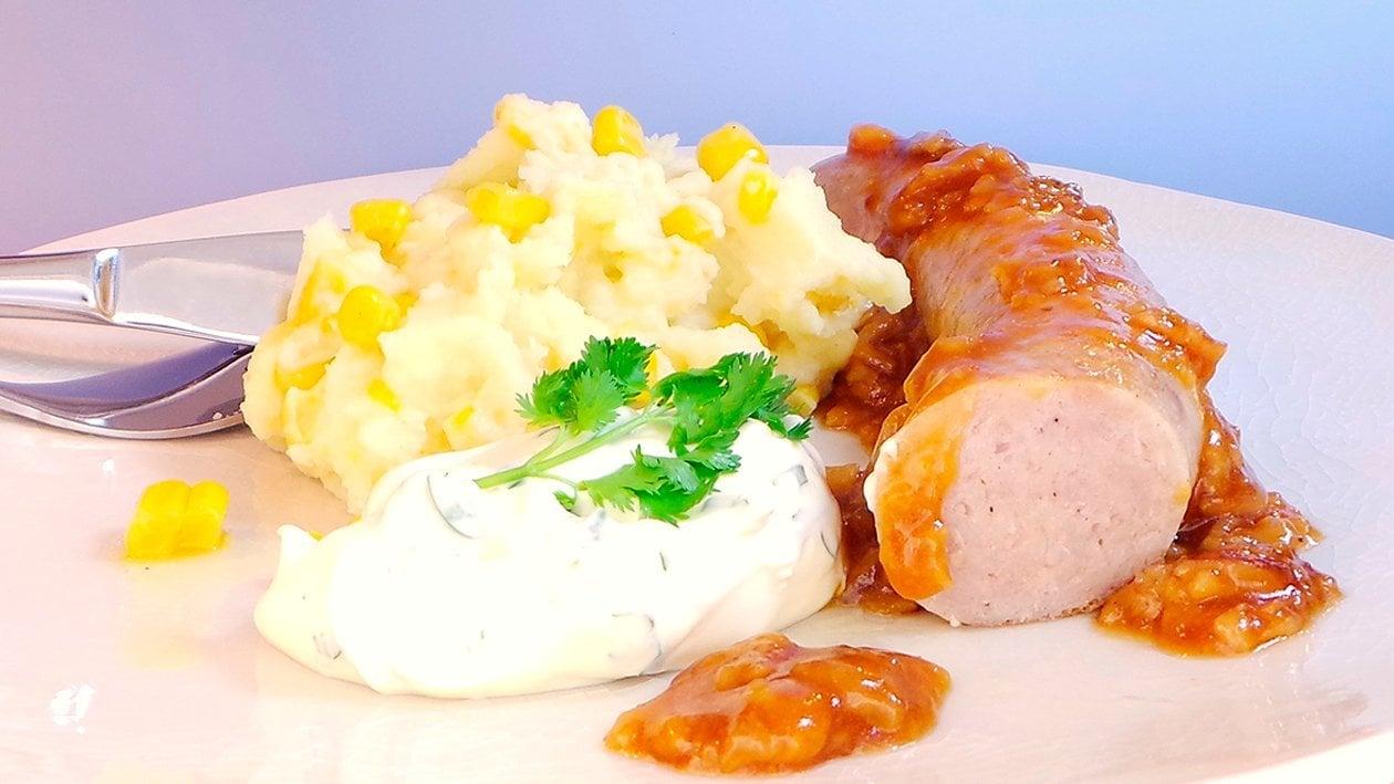 Bratwurst mit Kartoffel-Maispüree