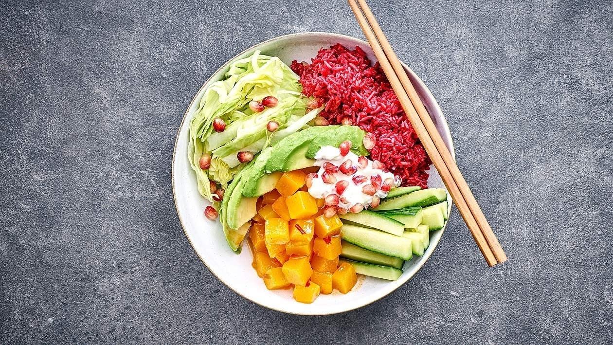 Kürbis-Avocado-Red Rice-Bowl