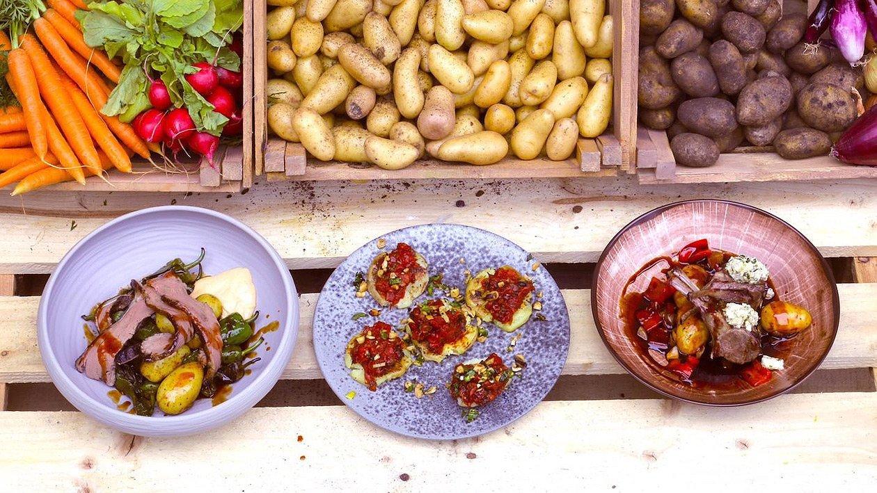 Grilled Potato / Tomato Salsa / Peanut Crumble