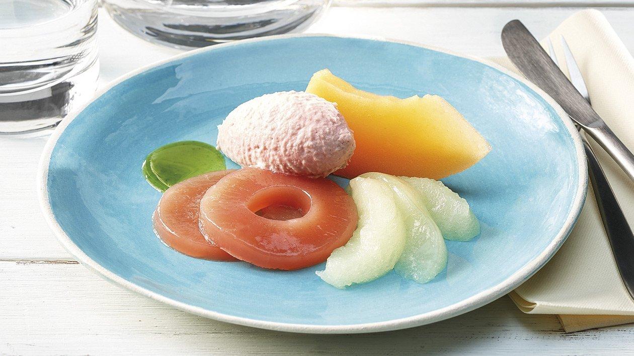 Schinken-Mousse mit Melonen in pürierter Form
