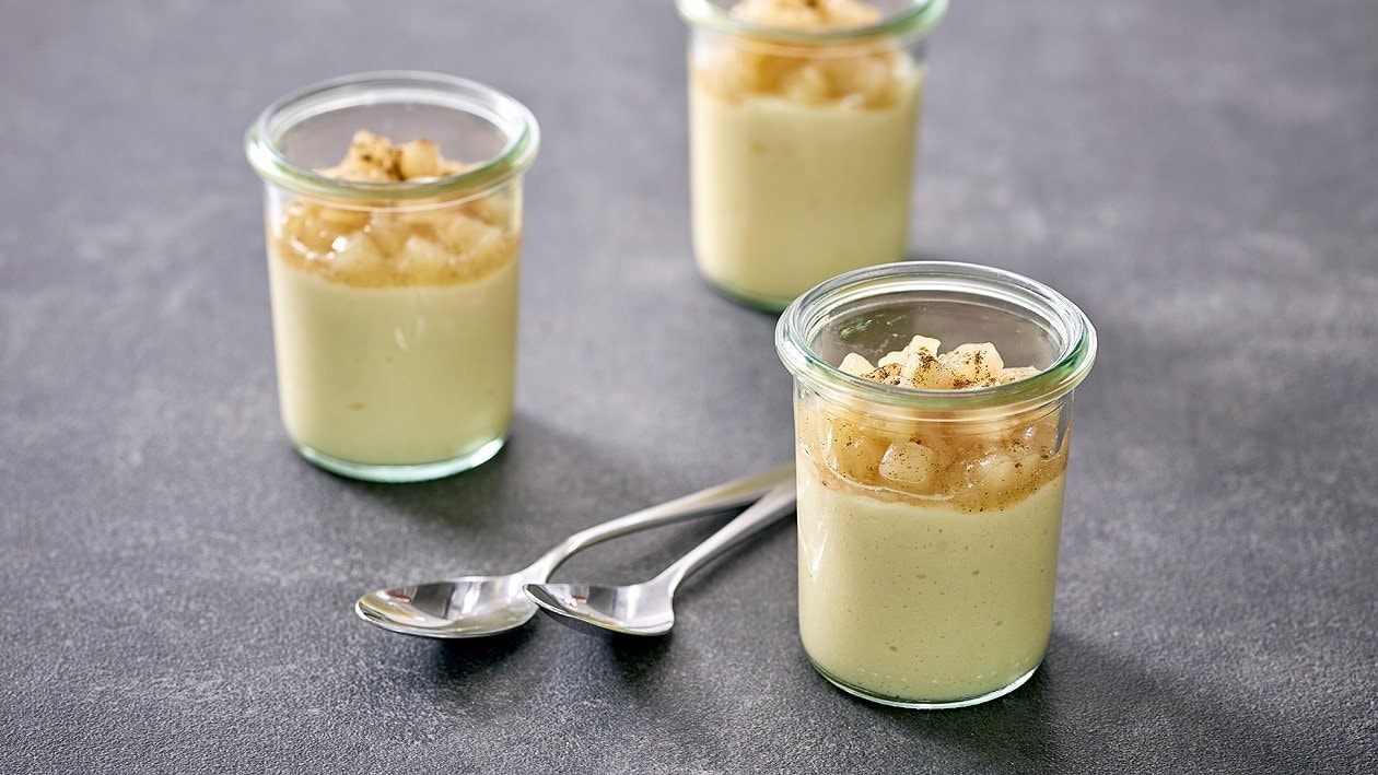 Vanillepudding mit Apfel-Zimt Kompott, kaltquellend