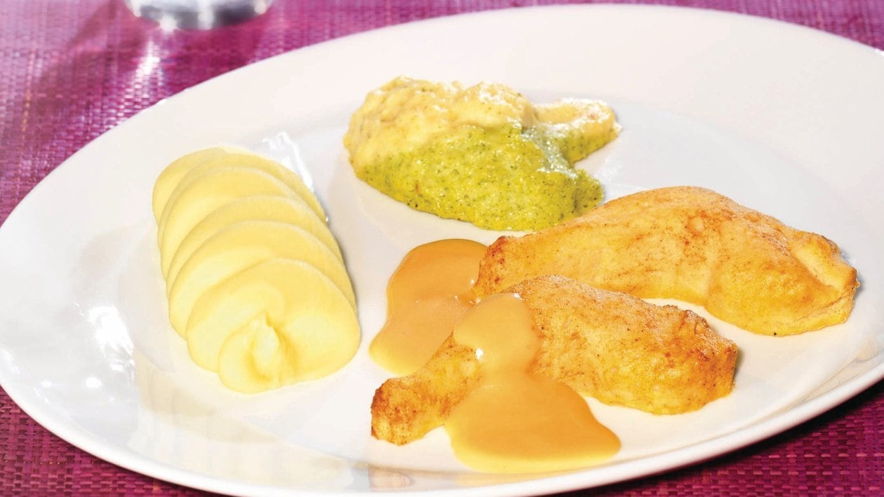 Hähnchenkeule mit Rahmsauce, Broccoli-Blumenkohl-Gemüse und Püree