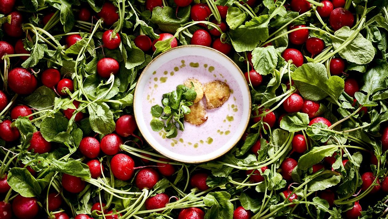 Radieschen Süppchen mit Quinoa-Krusteln