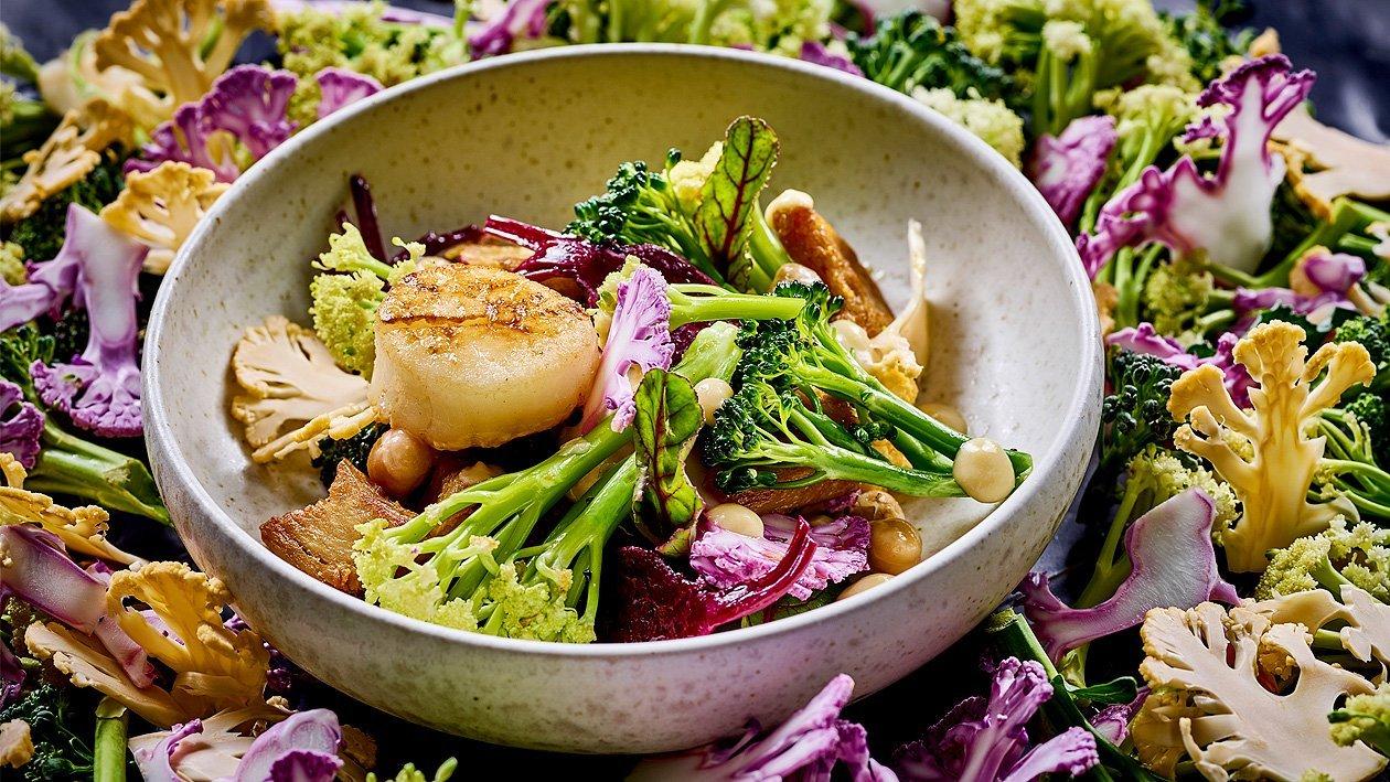 Lauwarmer Blütenkohl-Brokkoli-Salat mit roter Beete, Kichererbsencreme und Jacobsmuscheln
