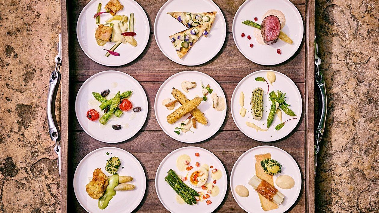 Spargelbissen/Kartoffel/Schnitzel/Petersilien Hollandaise